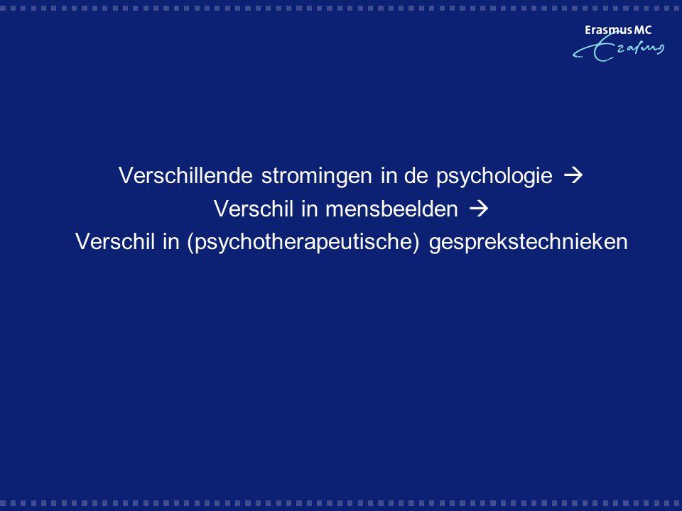   Verschillende stromingen in de psychologie  Verschil in mensbeelden  Verschil in (psychotherapeutische) gesprekstechnieken