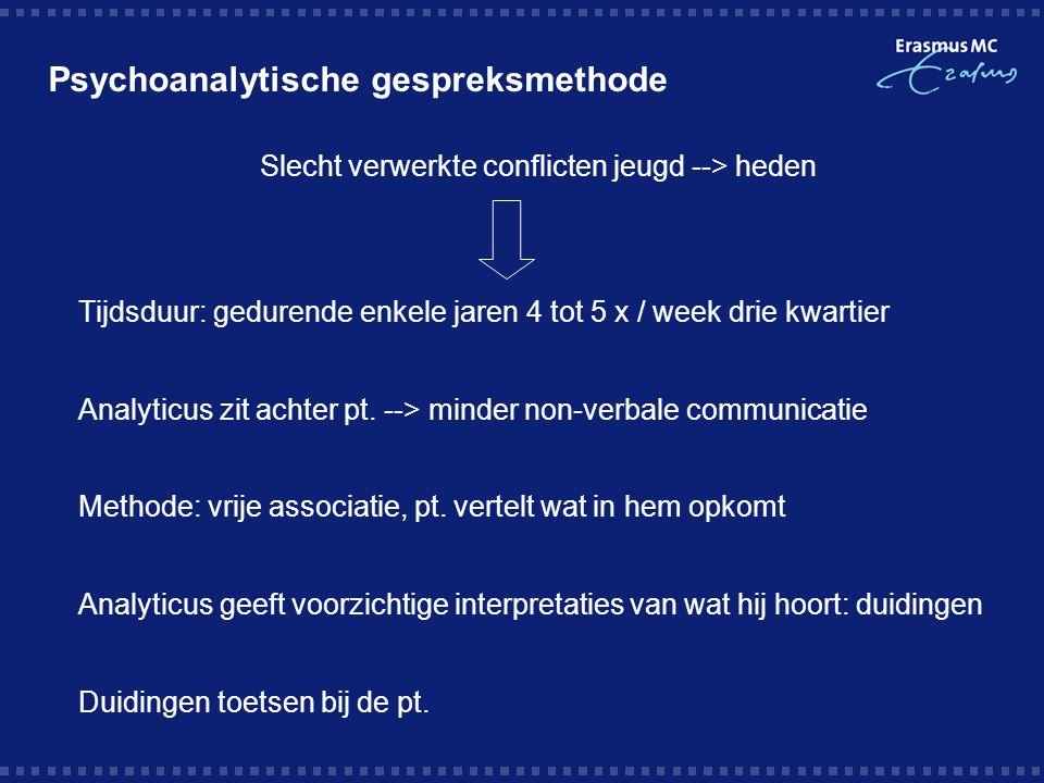 Psychoanalytische gespreksmethode Slecht verwerkte conflicten jeugd --> heden Tijdsduur: gedurende enkele jaren 4 tot 5 x / week drie kwartier Analyti