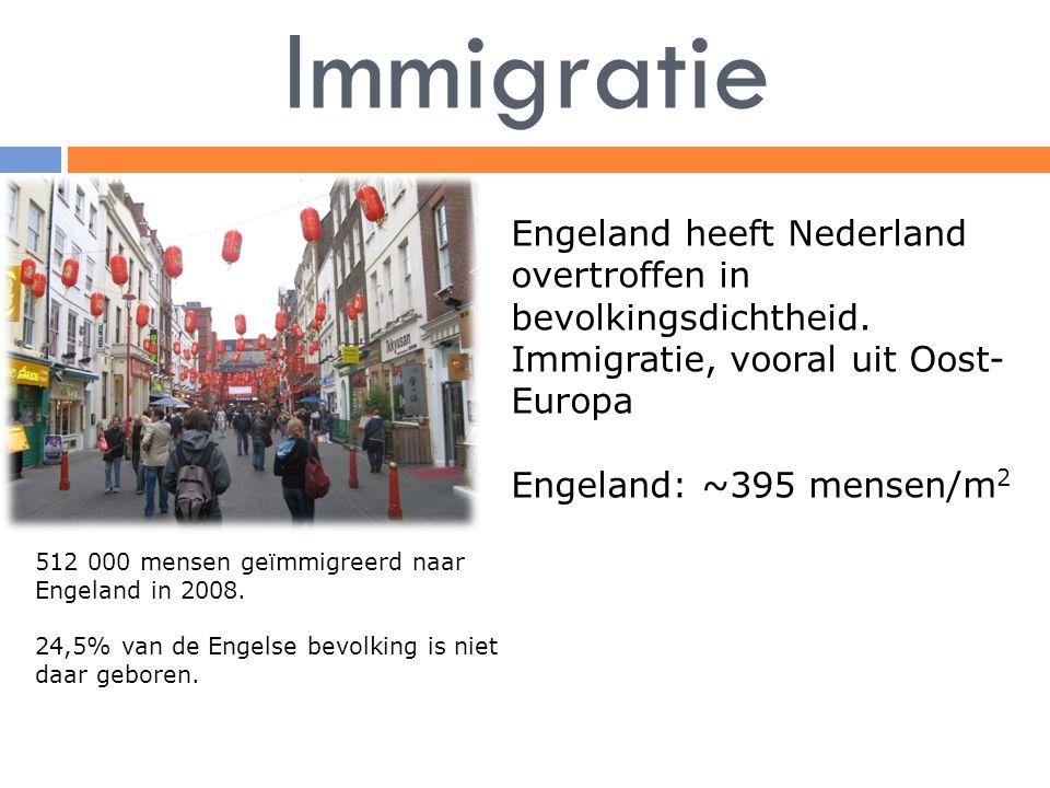 Immigratie Engeland heeft Nederland overtroffen in bevolkingsdichtheid. Immigratie, vooral uit Oost- Europa Engeland: ~395 mensen/m 2 512 000 mensen g
