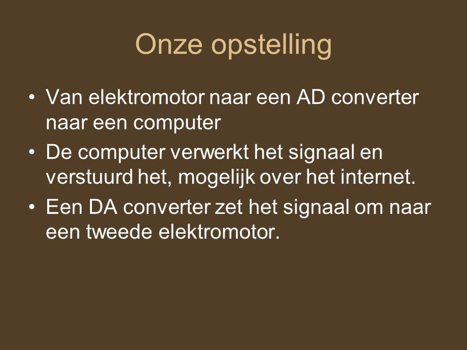 Onze opstelling Van elektromotor naar een AD converter naar een computer De computer verwerkt het signaal en verstuurd het, mogelijk over het internet
