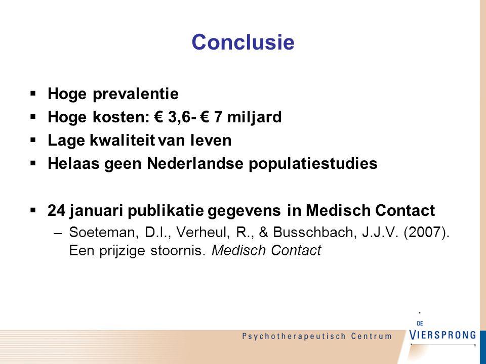 Conclusie  Hoge prevalentie  Hoge kosten: € 3,6- € 7 miljard  Lage kwaliteit van leven  Helaas geen Nederlandse populatiestudies  24 januari publ