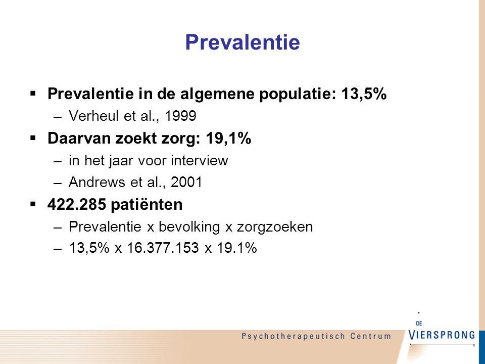 Prevalentie  Prevalentie in de algemene populatie: 13,5% –Verheul et al., 1999  Daarvan zoekt zorg: 19,1% –in het jaar voor interview –Andrews et al