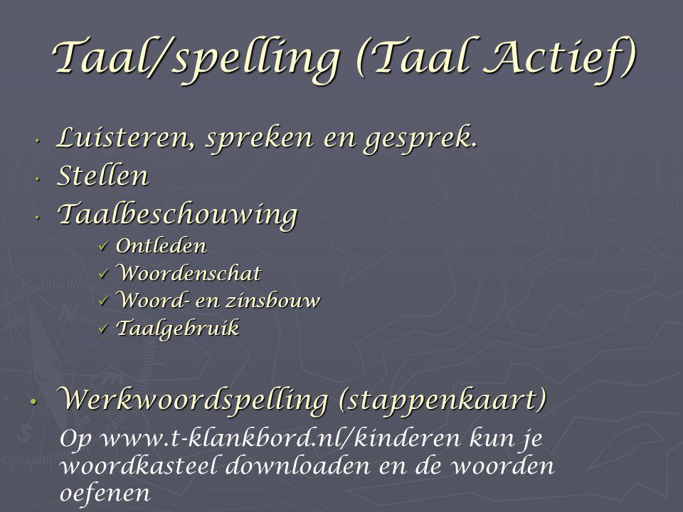 Taal/spelling (Taal Actief) Luisteren, spreken en gesprek.