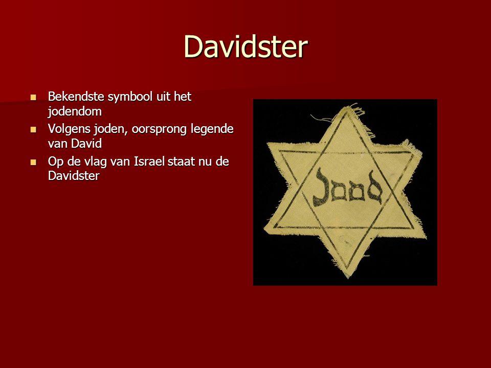 Davidster Bekendste symbool uit het jodendom Bekendste symbool uit het jodendom Volgens joden, oorsprong legende van David Volgens joden, oorsprong le