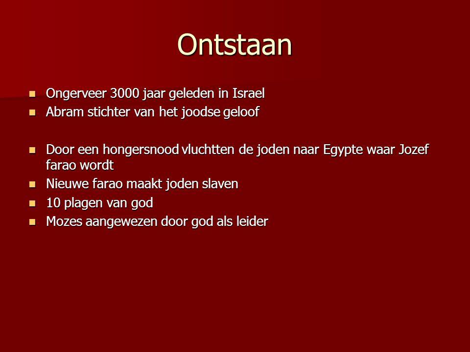 Ontstaan Ongerveer 3000 jaar geleden in Israel Ongerveer 3000 jaar geleden in Israel Abram stichter van het joodse geloof Abram stichter van het joods