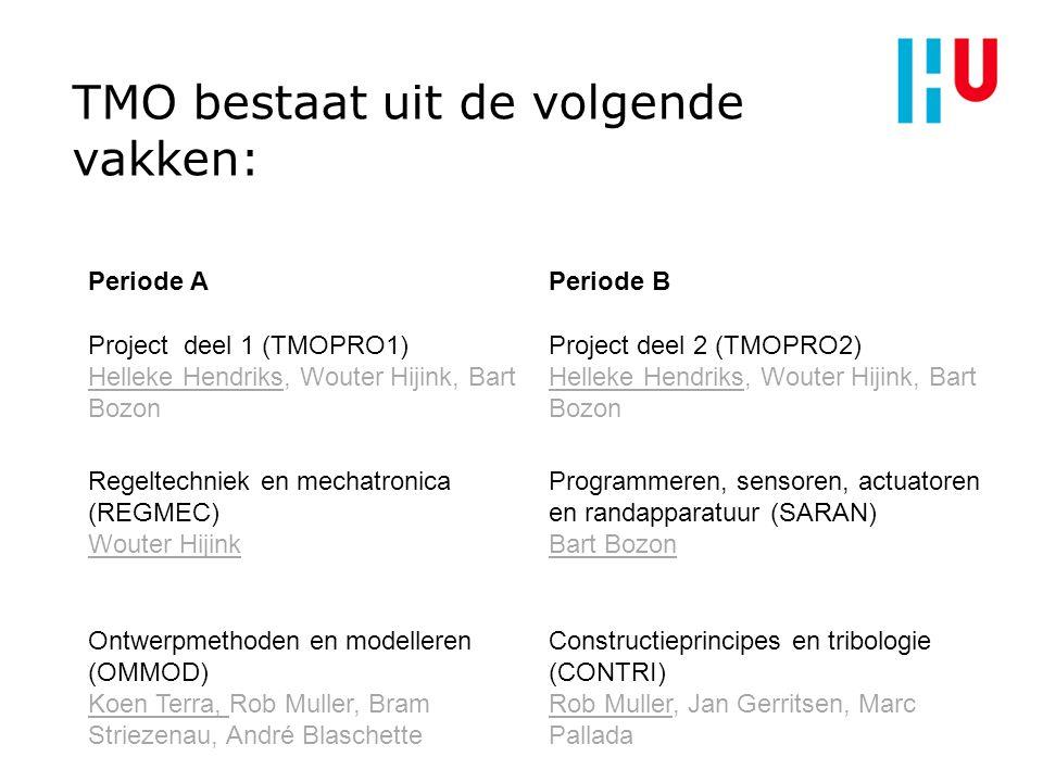 TMO bestaat uit de volgende vakken: Periode APeriode B Project deel 1 (TMOPRO1) Helleke Hendriks, Wouter Hijink, Bart Bozon Project deel 2 (TMOPRO2) H