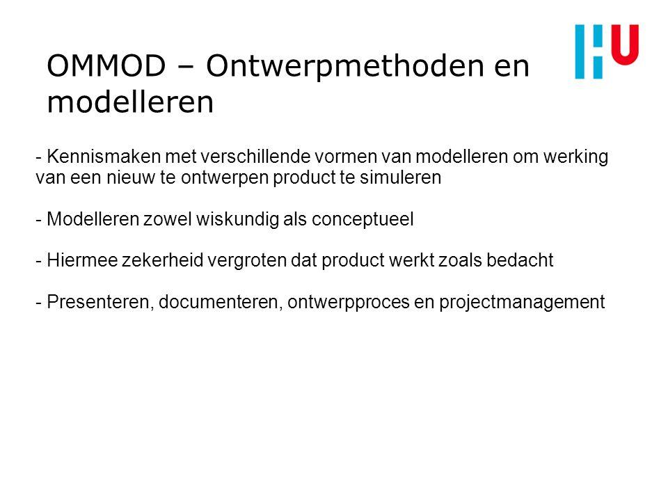 OMMOD – Ontwerpmethoden en modelleren - Kennismaken met verschillende vormen van modelleren om werking van een nieuw te ontwerpen product te simuleren