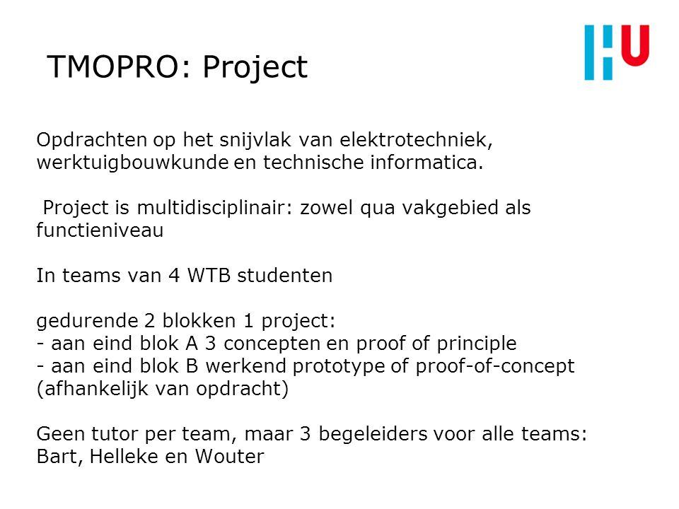 TMOPRO: Project Opdrachten op het snijvlak van elektrotechniek, werktuigbouwkunde en technische informatica. Project is multidisciplinair: zowel qua v
