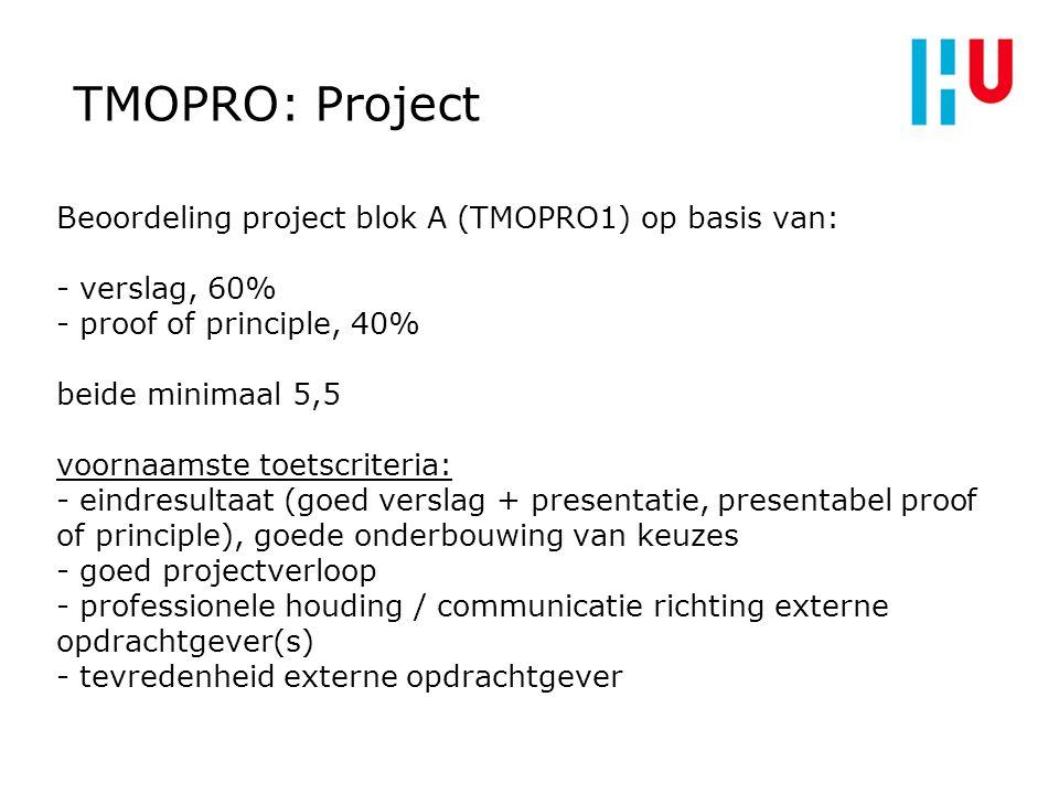 TMOPRO: Project Bij projectuitvoer gebruiken we SCRUM-methode: vanmiddag college daarover Keuze uit meerdere opdrachten, teams met name op basis van voorkeur voor opdracht Scherpstellen opdracht in overleg met opdrachtgever: is onderdeel van het project!