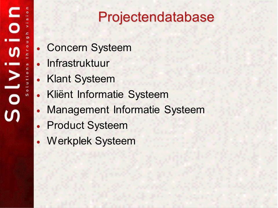 Projectendatabase  Concern Systeem  Infrastruktuur  Klant Systeem  Kliënt Informatie Systeem  Management Informatie Systeem  Product Systeem  Werkplek Systeem