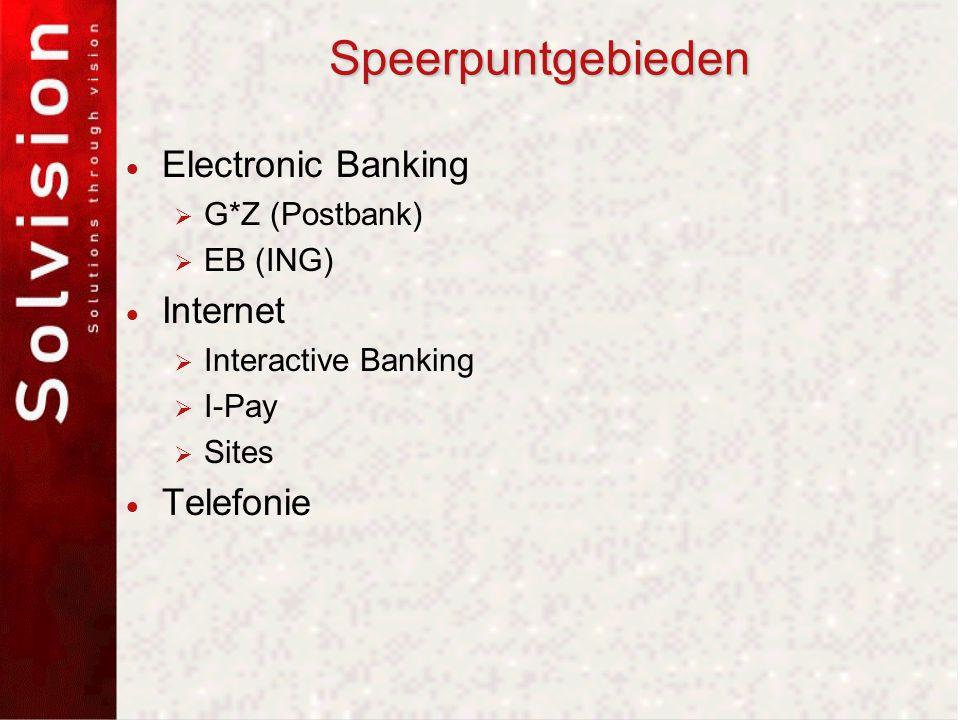 Speerpuntgebieden  Electronic Banking  G*Z (Postbank)  EB (ING)  Internet  Interactive Banking  I-Pay  Sites  Telefonie