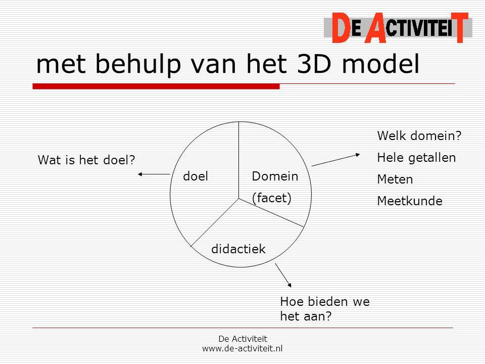 met behulp van het 3D model De Activiteit www.de-activiteit.nl doelDomein (facet) didactiek Welk domein? Hele getallen Meten Meetkunde Hoe bieden we h