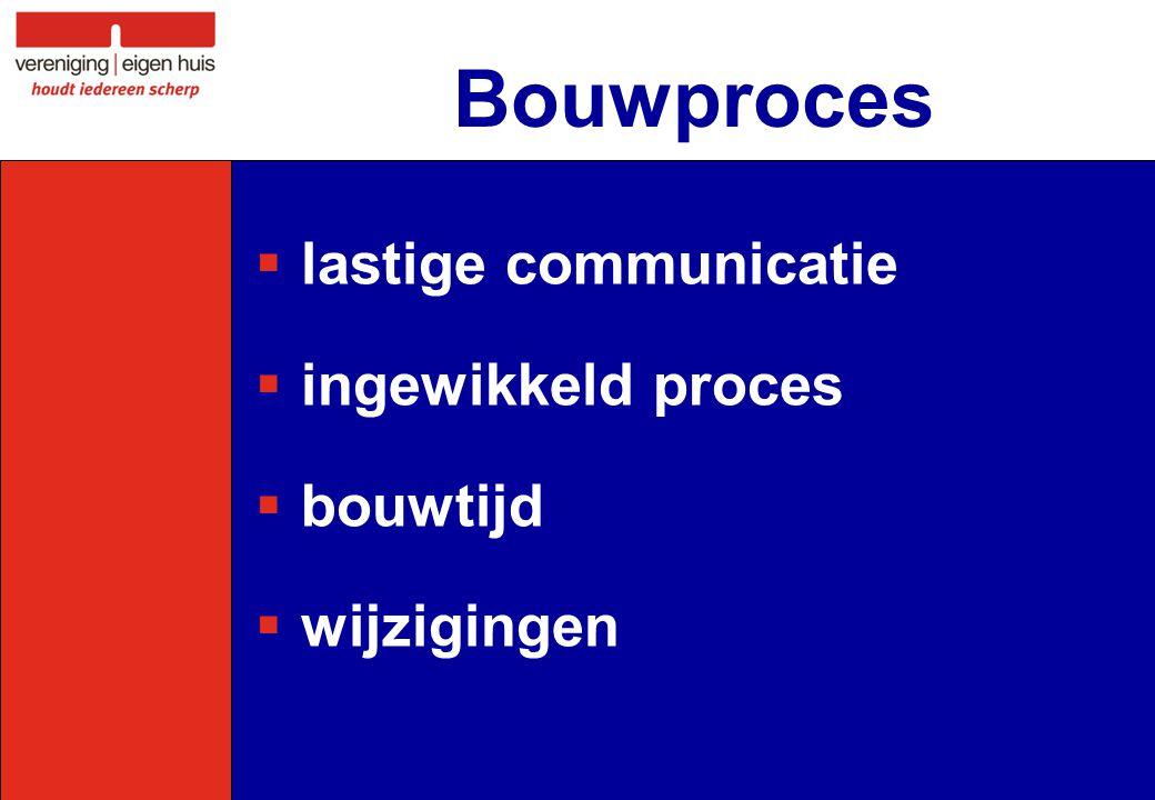 Bouwproces  lastige communicatie  ingewikkeld proces  bouwtijd  wijzigingen