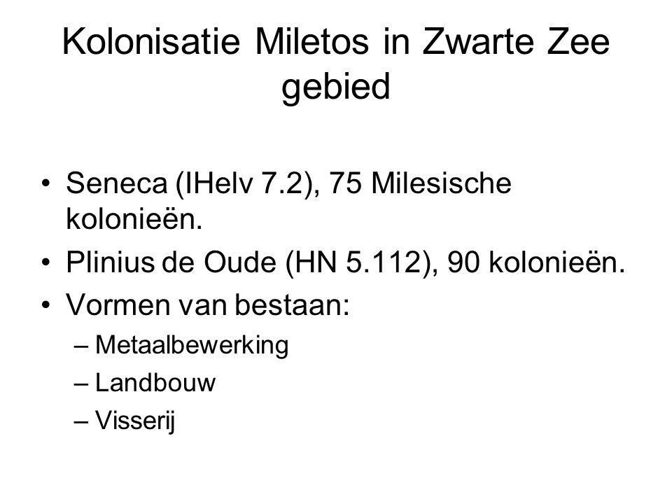 Seneca (IHelv 7.2), 75 Milesische kolonieën.Plinius de Oude (HN 5.112), 90 kolonieën.