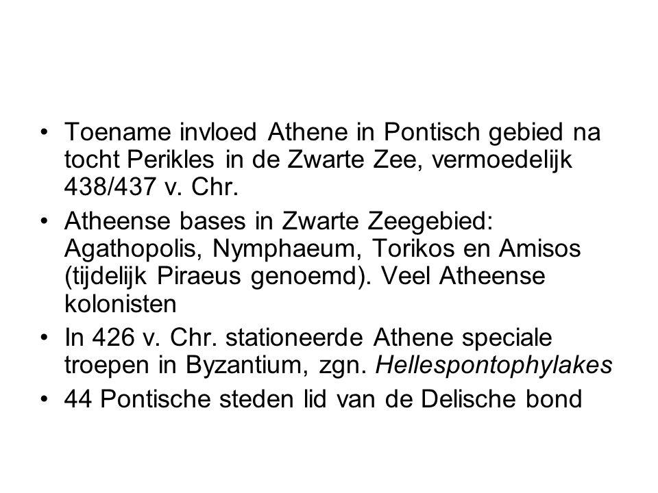 Toename invloed Athene in Pontisch gebied na tocht Perikles in de Zwarte Zee, vermoedelijk 438/437 v. Chr. Atheense bases in Zwarte Zeegebied: Agathop