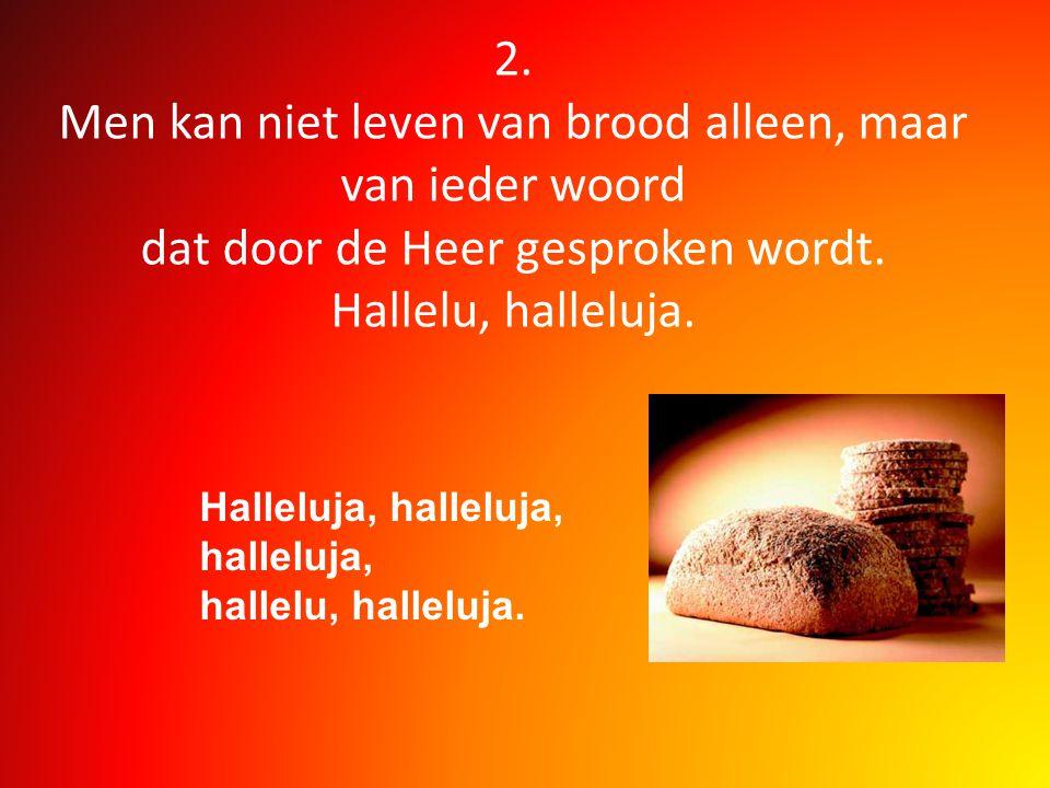 2. Men kan niet leven van brood alleen, maar van ieder woord dat door de Heer gesproken wordt. Hallelu, halleluja. Halleluja, halleluja, halleluja, ha