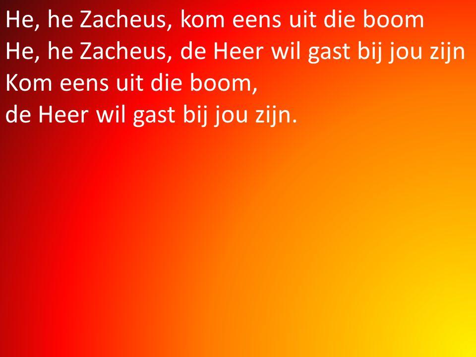 He, he Zacheus, kom eens uit die boom He, he Zacheus, de Heer wil gast bij jou zijn Kom eens uit die boom, de Heer wil gast bij jou zijn.