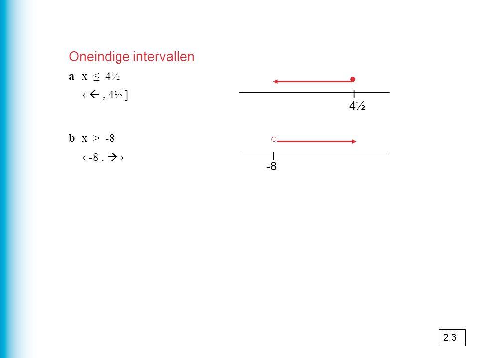 4½4½ l ○ ● ax ≤ 4½ ‹ , 4½ ] bx > -8 ‹ -8,  › -8 l Oneindige intervallen 2.3