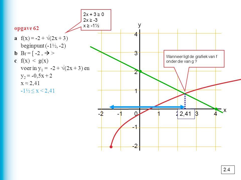 opgave 62 01234 1 2 3 4 y x -2 ∙ ∙ ∙ af(x) = -2 + √(2x + 3) beginpunt (-1½, -2) bB f = [ -2,  > cf(x) < g(x) voer in y 1 = -2 + √(2x + 3) en y 2 = -0