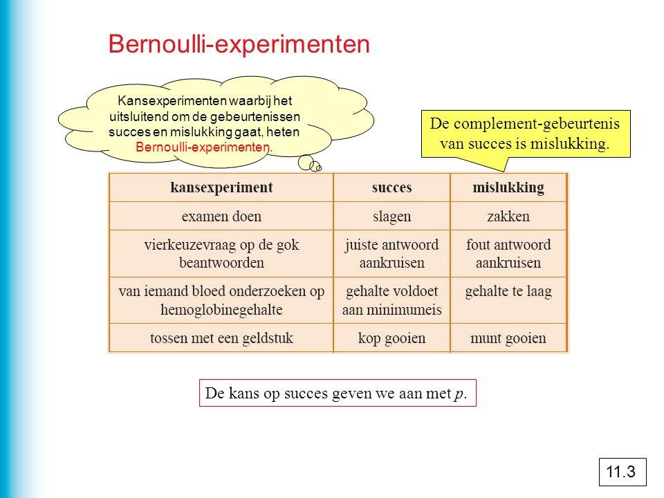 Bernoulli-experimenten De complement-gebeurtenis van succes is mislukking. De kans op succes geven we aan met p. 11.3 Kansexperimenten waarbij het uit