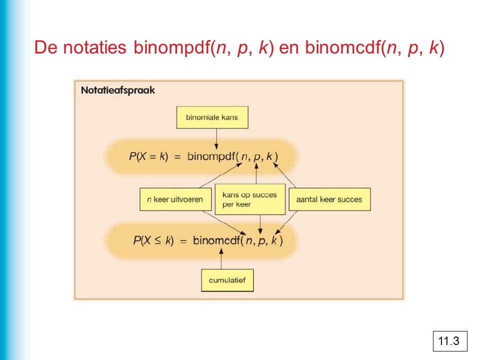 De notaties binompdf(n, p, k) en binomcdf(n, p, k) 11.3