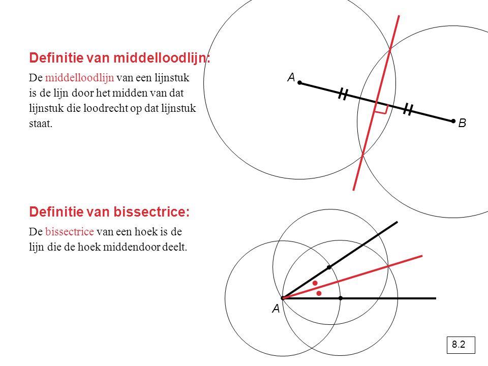 De middelloodlijn van een lijnstuk is de lijn door het midden van dat lijnstuk die loodrecht op dat lijnstuk staat.