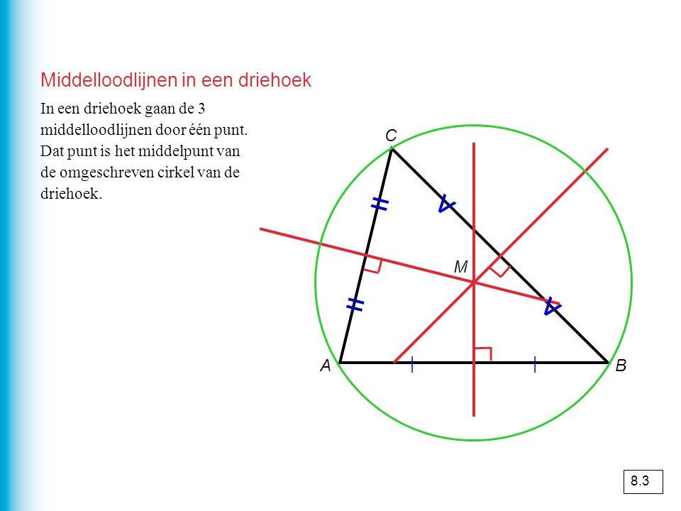 Middelloodlijnen in een driehoek AB C | | = = v v In een driehoek gaan de 3 middelloodlijnen door één punt.