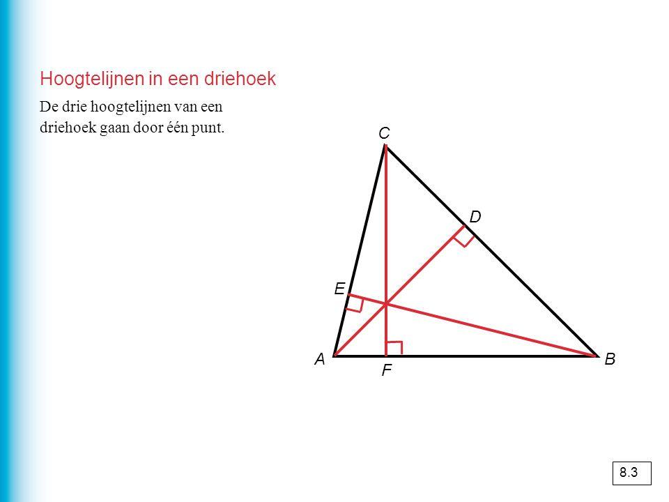 Hoogtelijnen in een driehoek AB C D E F De drie hoogtelijnen van een driehoek gaan door één punt.