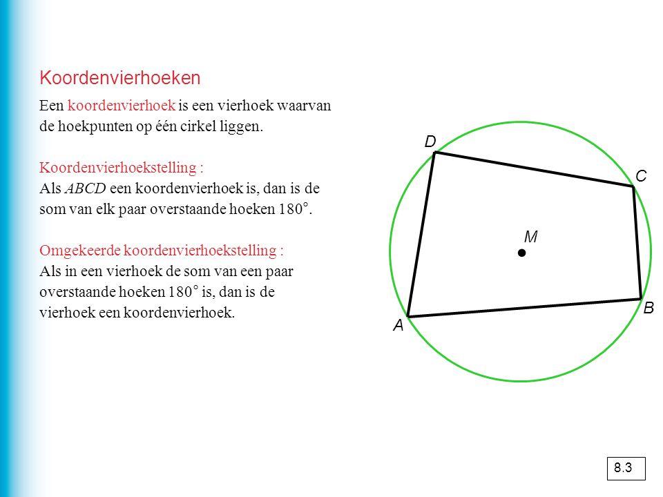 Koordenvierhoeken Een koordenvierhoek is een vierhoek waarvan de hoekpunten op één cirkel liggen.