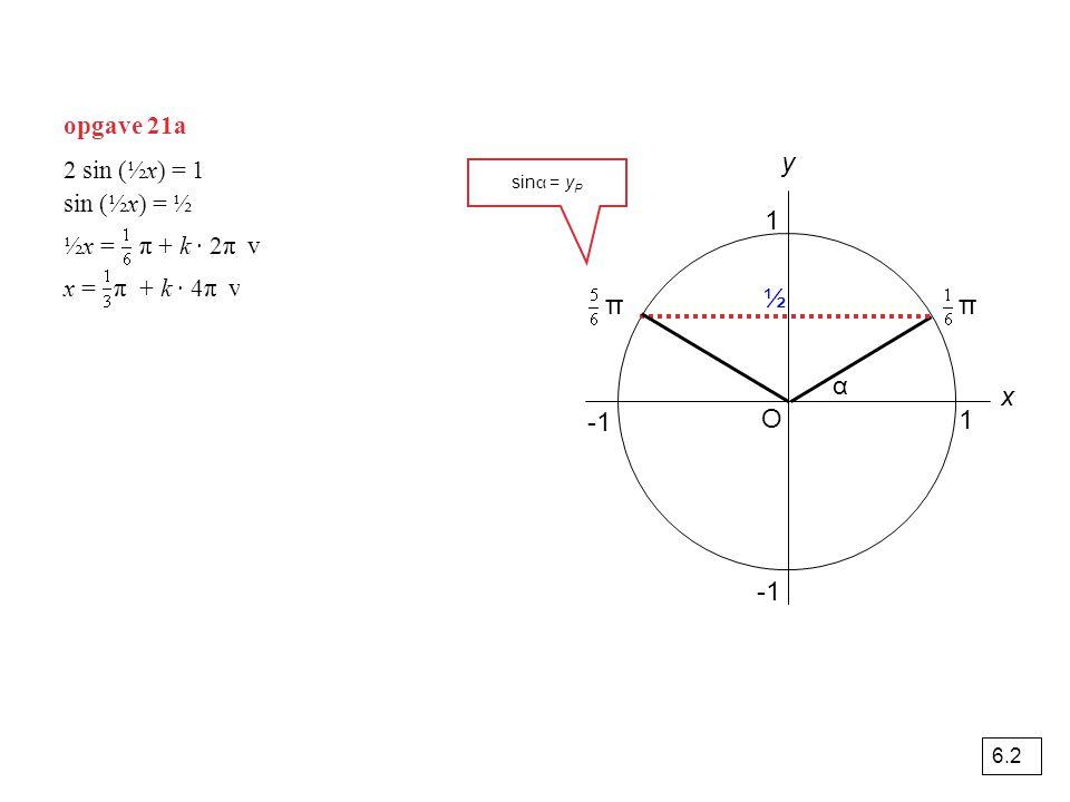 opgave 21a O 1 y x α 1 2 sin (½x) = 1 sin (½x) = ½ ½x = π + k · 2π v ½x = π + k · 2π x = π + k · 4π v x = π + k · 4π ½ ππ sin α = y P 6.2