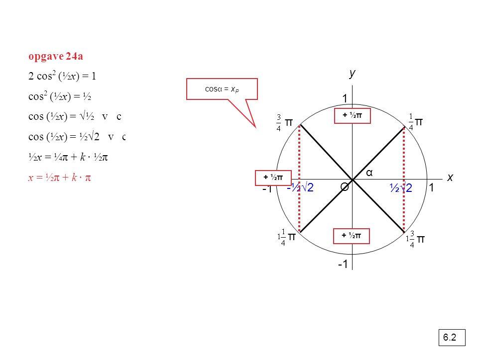 opgave 24a O 1 y x α 1 π π ½√2 -½√2 cos α = x P π π 2 cos 2 (½x) = 1 cos 2 (½x) = ½ cos (½x) = √½ v cos (½x) = -√½ cos (½x) = ½√2 v cos (½x) = -½√2 ½x