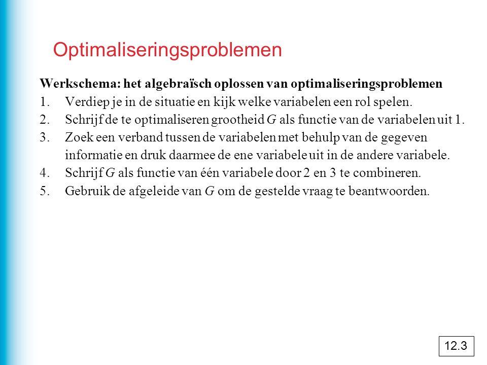 Optimaliseringsproblemen Werkschema: het algebraïsch oplossen van optimaliseringsproblemen 1.Verdiep je in de situatie en kijk welke variabelen een rol spelen.