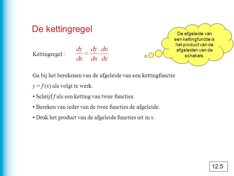 De kettingregel Kettingregel : Ga bij het berekenen van de afgeleide van een kettingfunctie y = f (x) als volgt te werk.