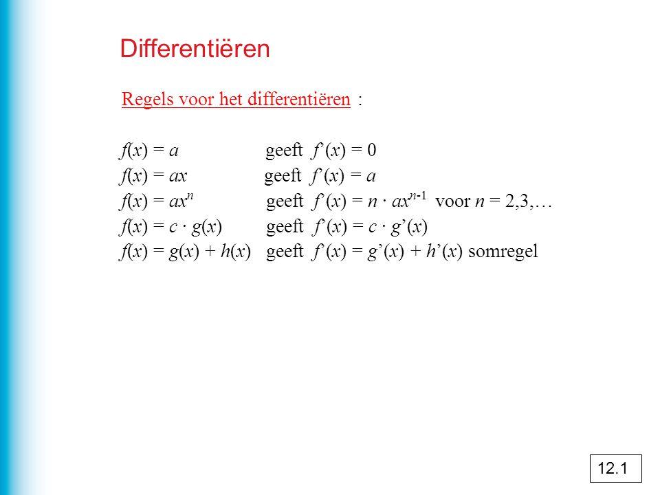 Differentiëren Regels voor het differentiëren : f(x) = a geeft f'(x) = 0 f(x) = ax geeft f'(x) = a f(x) = ax n geeft f'(x) = n · ax n-1 voor n = 2,3,… f(x) = c · g(x) geeft f'(x) = c · g'(x) f(x) = g(x) + h(x) geeft f'(x) = g'(x) + h'(x) somregel 12.1