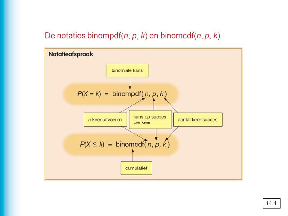De notaties binompdf(n, p, k) en binomcdf(n, p, k) 14.1