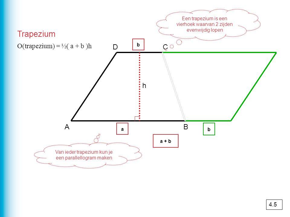 Trapezium AB CD Een trapezium is een vierhoek waarvan 2 zijden evenwijdig lopen h Van ieder trapezium kun je een parallellogram maken a b a + b b O(tr