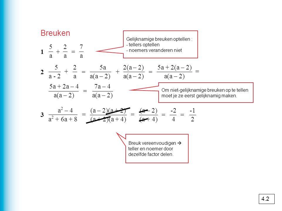 Breuken 5a5a + 2a2a = 7a7a Gelijknamige breuken optellen : - tellers optellen - noemers veranderen niet 5 a - 2 + 2a2a = 5a a(a – 2) + 2(a – 2) a(a –
