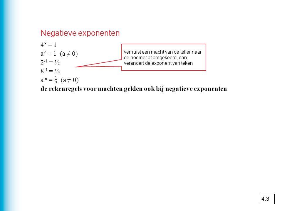 Negatieve exponenten 4° = 1 a° = 1 (a ≠ 0) 2 -1 = ½ 8 -1 = ⅛ a -n =  (a ≠ 0) de rekenregels voor machten gelden ook bij negatieve exponenten verhuist