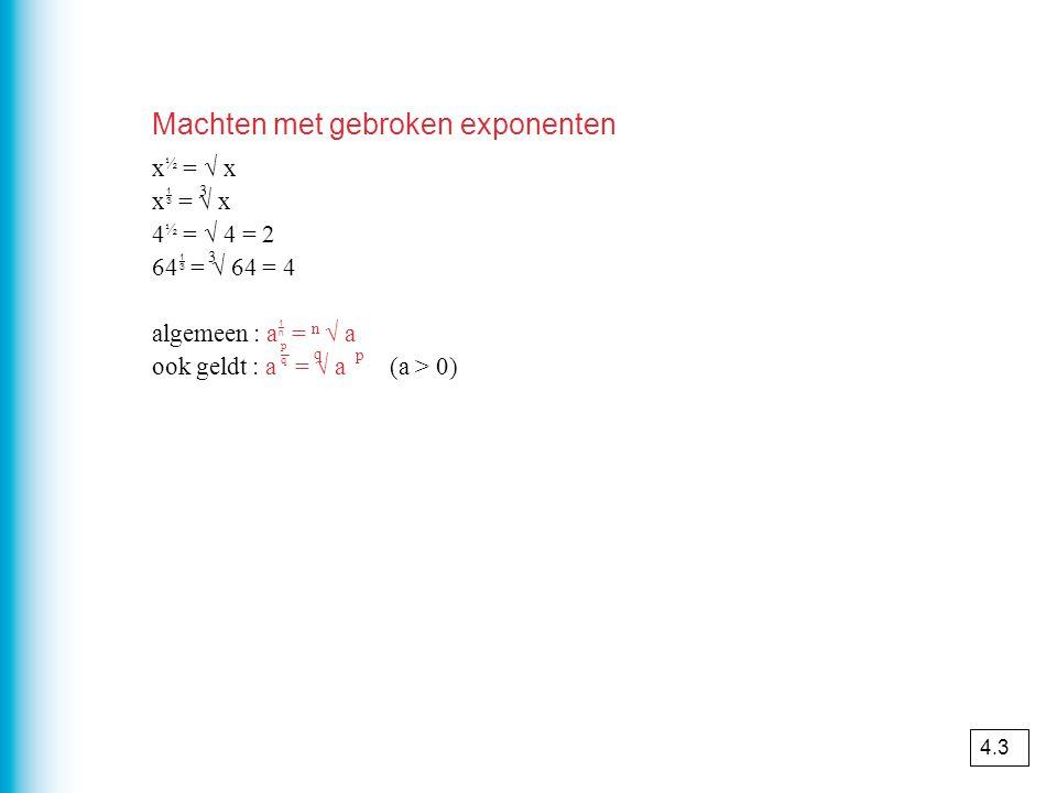 Machten met gebroken exponenten x ½ = √ x x  = √ x 4 ½ = √ 4 = 2 64  = √ 64 = 4 algemeen : a  = n √ a ook geldt : a = √ a (a > 0) pqpq q p 3 3 4.3