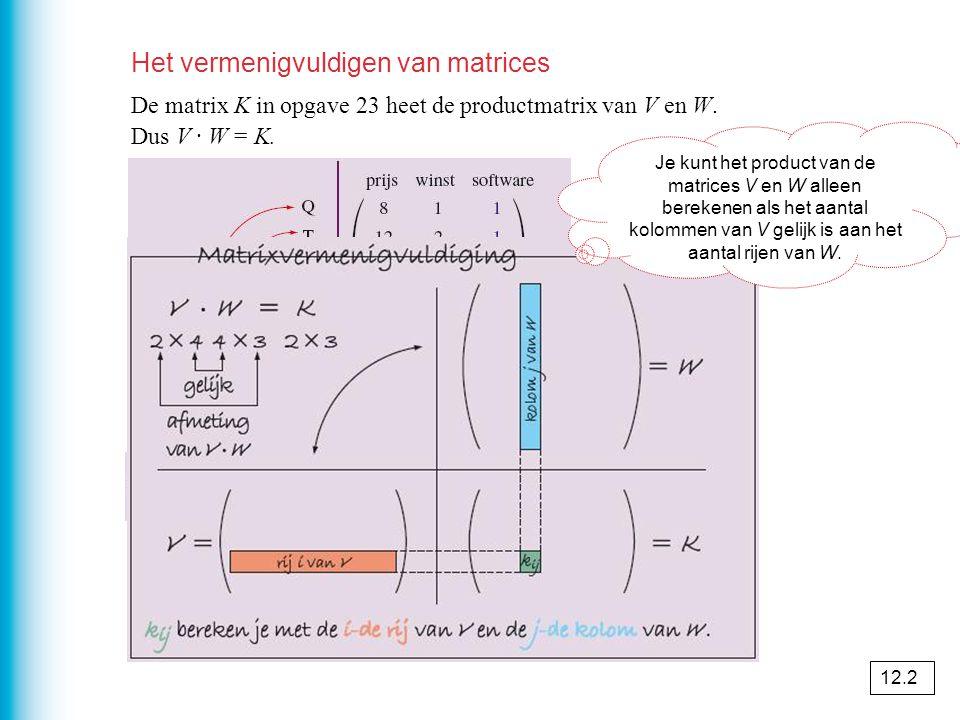 Het vermenigvuldigen van matrices De matrix K in opgave 23 heet de productmatrix van V en W. Dus V · W = K. Je kunt het product van de matrices V en W