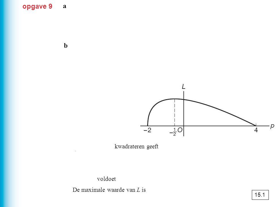 opgave 25 K = kosten AB'+ kosten BB' ≈ 68 852 euro a b AC : BC = 2 : 1 AC + BC = AB K = kosten AC + kosten BC ≈ 68 028 euro 15.2