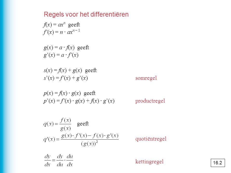 Regels voor het differentiëren f(x) = ax n geeft f'(x) = n · ax n – 1 g(x) = a · f(x) geeft g'(x) = a · f'(x) s(x) = f(x) + g(x) geeft s'(x) = f'(x) + g'(x)somregel p(x) = f(x) · g(x) geeft p'(x) = f'(x) · g(x) + f(x) · g'(x)productregel geeft quotiëntregel kettingregel 16.2
