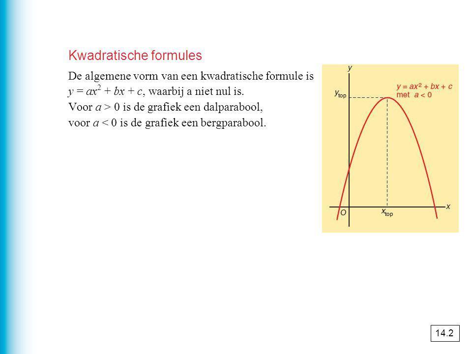 Kwadratische formules De algemene vorm van een kwadratische formule is y = ax 2 + bx + c, waarbij a niet nul is.