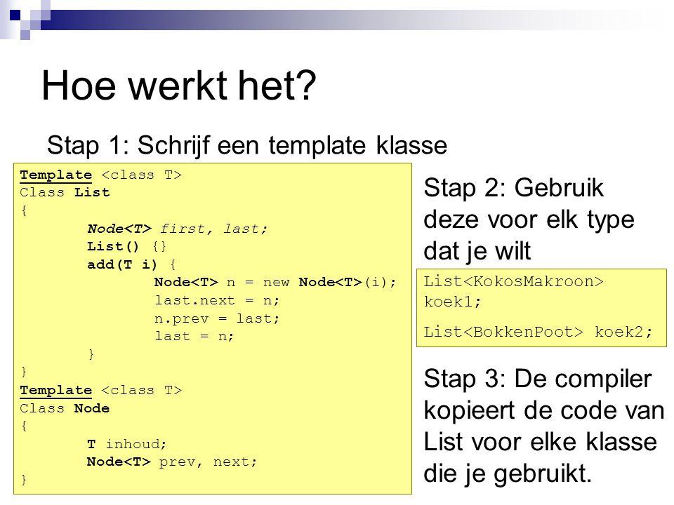 Hoe werkt het? Stap 1: Schrijf een template klasse Template Class List { Node first, last; List() {} add(T i) { Node n = new Node (i); last.next = n;
