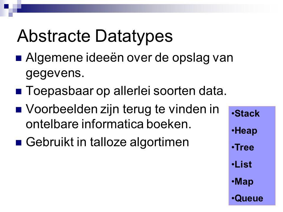 Abstracte Datatypes Algemene ideeën over de opslag van gegevens. Toepasbaar op allerlei soorten data. Voorbeelden zijn terug te vinden in ontelbare in
