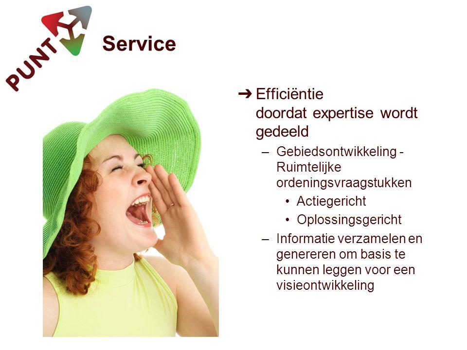 Service ➔ Efficiëntie doordat expertise wordt gedeeld –Gebiedsontwikkeling - Ruimtelijke ordeningsvraagstukken Actiegericht Oplossingsgericht –Informatie verzamelen en genereren om basis te kunnen leggen voor een visieontwikkeling