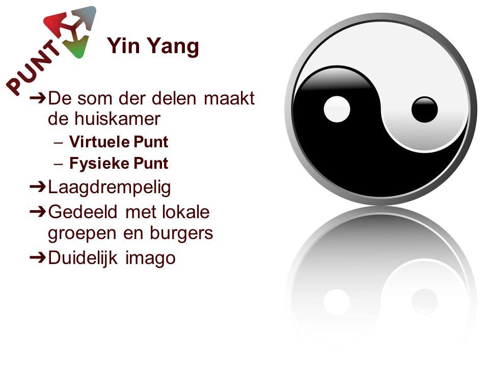 Yin Yang ➔ De som der delen maakt de huiskamer –Virtuele Punt –Fysieke Punt ➔ Laagdrempelig ➔ Gedeeld met lokale groepen en burgers ➔ Duidelijk imago
