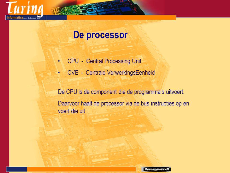 CPU - Central Processing Unit CVE - Centrale VerwerkingsEenheid De processor De CPU is de component die de programma's uitvoert. Daarvoor haalt de pro