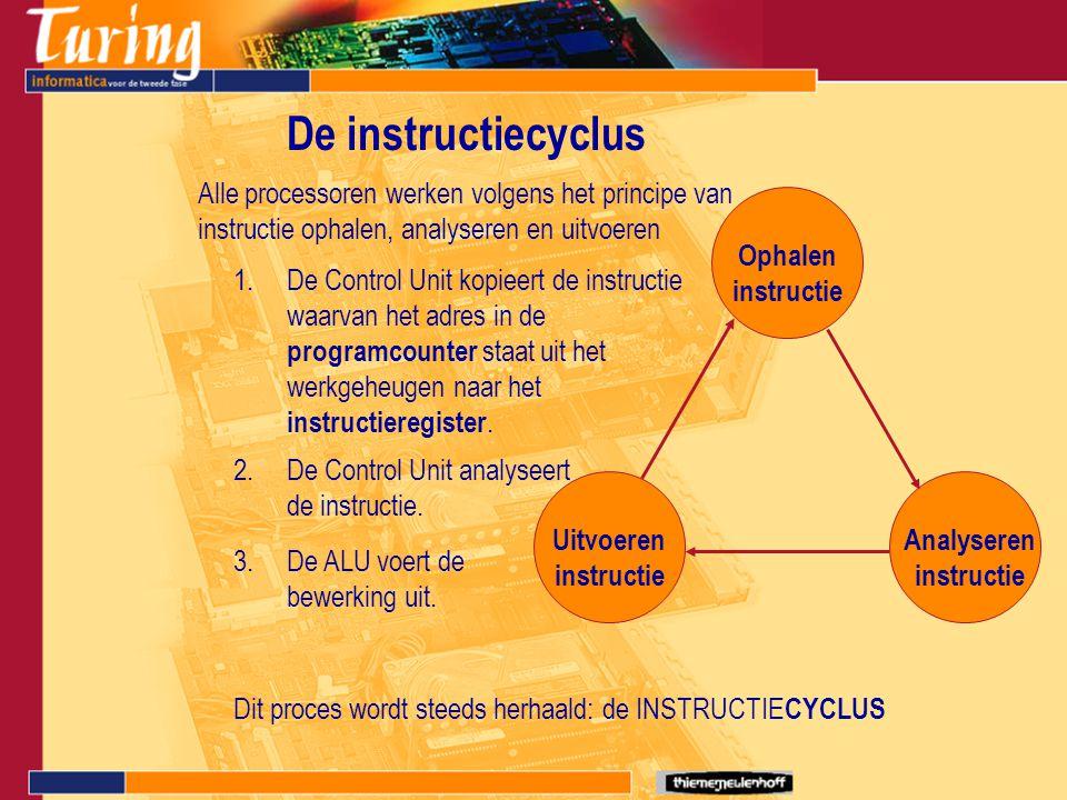 Verwerking van de instructies Iedere instructie bestaat uit een rij bits.