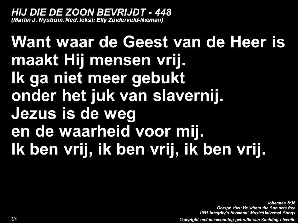 Copyright met toestemming gebruikt van Stichting Licentie 3/4 HIJ DIE DE ZOON BEVRIJDT - 448 (Martin J. Nystrom. Ned. tekst: Elly Zuiderveld-Nieman) W